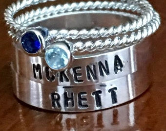 Name Birthstone Stackable Rings  - Mother's Rings- Mom of Two - Personalized Stackable Band Set - Sterling Silver - Hand Stamped