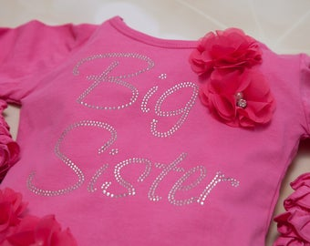 Rhinestone Sister/Cousine Announcement Toddler Hot Pink T Shirt  Long Sleeve Cotton Ruffle Sleeve Tee