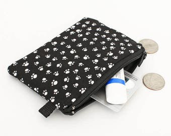 Cute Coin Purse, Kid's Padded Zipper Pouch, Women's Small Zip Wallet - cat dog paw print in black