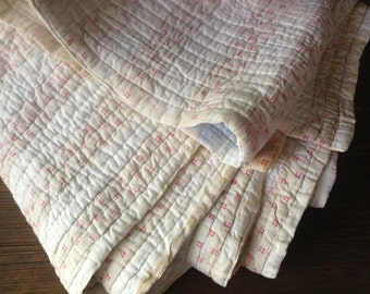 Antique French Quilt from Provence, Floral Rose Pink Cotton, Wool Filled Blanket Throw Cover