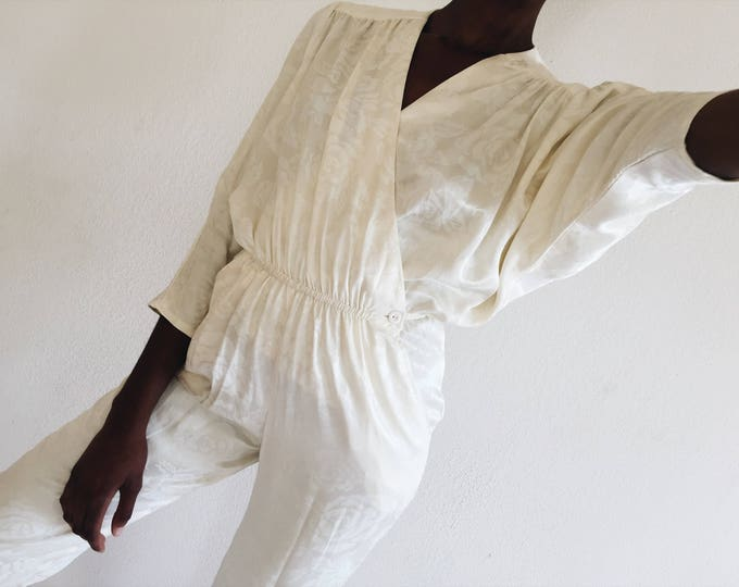 White Brocade Jumpsuit