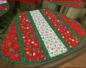 Quilted Holiday Placemats Christmas Lights 536