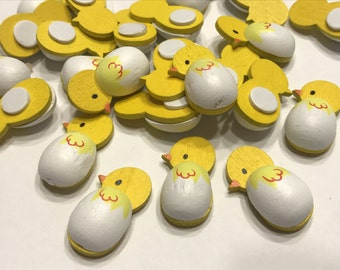 6 wooden stick on chicks embellishment, 13 x 25 mm (A1)