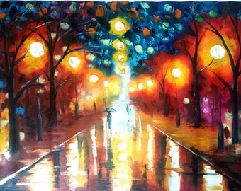 Original Oil Painting 28 x 20 - Umbrella Painting Rainbow Colorful Palette Knife Canvas Abstract Romantic - Lanterns - Night Lights