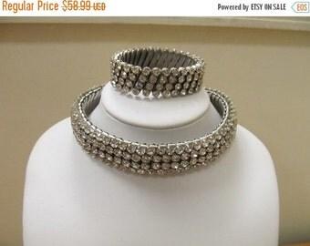 On Sale Vintage Stretch Rhinestone Collar and bracelet Item K # 1753