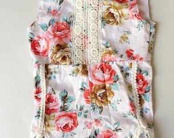 Vintage Floral print lace cotton jumpsuit romper girl romper cotton 3T