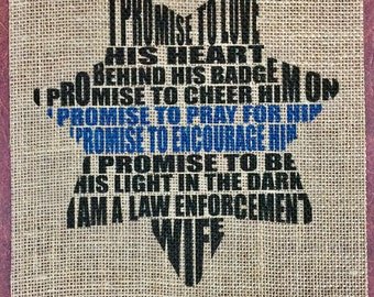 Police Wife Burlap Print Rustic Home Decor Wife of a Police Officer Thin Blue Line LEO Wife Law Enforcement Wife Police Officer Print Burlap