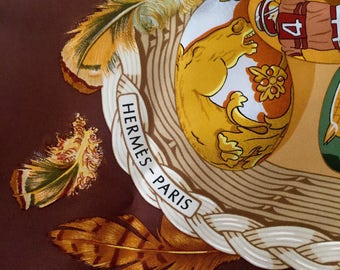 Vintage Authentic Hermes Silk Scarf- Egg themed Couvee d'Hermes - Earthy Brown Warm Gold Rich Red Tones Classic French Flea Market Fashion