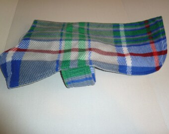 Medium - Plaid Winter Fleece Dog Coat in Blue, Red, Green, Gray and White,