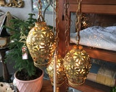 Triple Brass Mid Century Brass Reticulated Swag Light