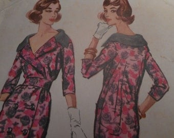 Vintage 1950's McCall's 4429 Coat Dress Sewing Pattern Size 12 Bust 32