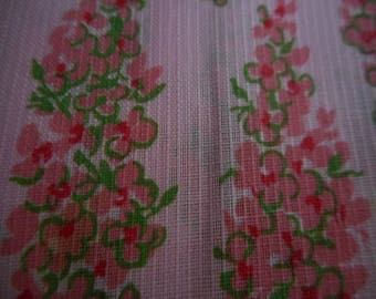 Vintage 1950's, 60's Lovely Semi-Sheer Pink Floral Stripes Dimity? Fabric, 5 yards plus