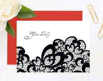 Thank You Card Set - Victorian Elegance and Lace: Your're Lovely