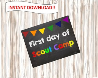 First day of Scout Camp. picture.poster.sign