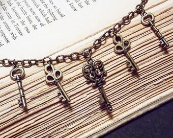 Bronze Skeleton Key Charm Bracelet