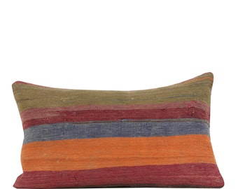 "17"" x 28"" Pillow Cover Kilim Pillow Vintage Kilim Pillow Hand Embroidered Pillow FAST SHIPMENT with ups or fedex - 10867"