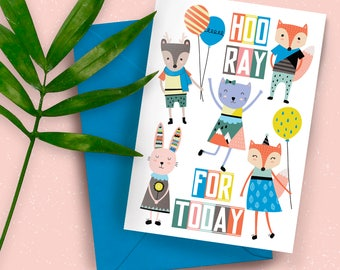 Hooray For Today Woodland Wonderland A5 greeting card