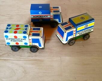 Vintage Tin Cars Trucks Miniature  set of three, soviet USSR toys, rare, collectible