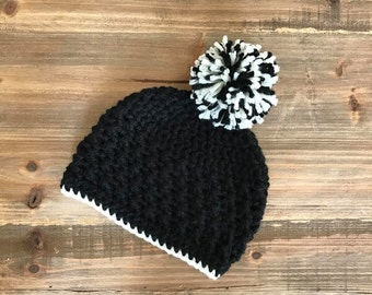 Black and Cream Baby Pom Pom Hat, Crochet Toddler Hat, Black and Cream