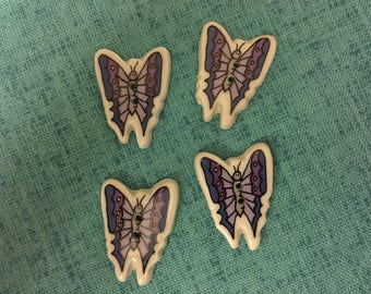 BUTTONS - 1990s Vintage New Hand-made Ceramic Purple Butterflies Buttons (set of 4)