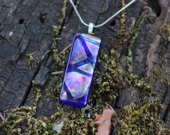 Electric Blue Dichroic Glass Pendant