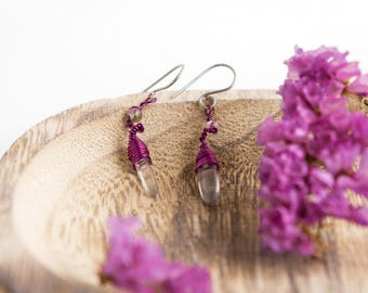 cristal quartz dangle earrings · purple earrings · cristal quartz jewelry · boho earrings · everyday earrings · hypoallergenic earrings