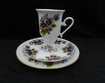Breakfast Trio: Hand decorated porcelain