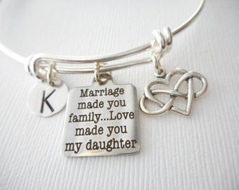 Marriage Made You Family, Love Made You My Daughter, Infinity Heart- Initial Bangle/ Daughter in law gift, future Daughter in law bracelet
