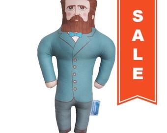 SALE - Herman Melville Doll - Handmade Soft Art Cloth Doll - LIMITED EDITION