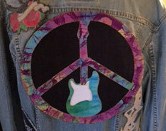 Tie Dye Peace Sign Guitar Patch Jacket Back Upcycled Denim10'' Custom Sizes and Designs Available