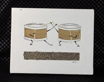 """Artist Signed Wall Hanging - """"The Tom Tom Twins"""" - Beating Drums with Cute Story Card - by Julie Lewis - Percussion Musical Instrument Art"""