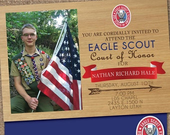Eagle SCOUT Court-of-Honor Invites / Woodgrain Card/Postcard  DESIGN / #EagleScout #DIYprintable #CourtofHonorInvite