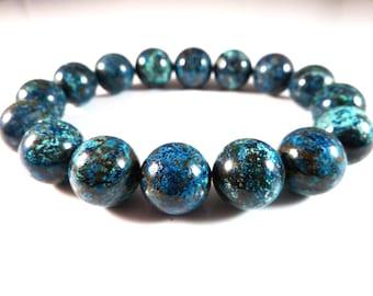 Shattuckite and Chrysocolla Stretch Bracelet 12mm Blue Aqua Smooth Round Gemstone Rare Beads