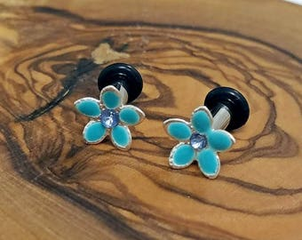 Flower studs or plugs - Pick your color! - 12g - 0g