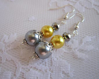 Yellow and Gray Bridesmaid Earrings Maid of Honor Bridesmaid Jewelry