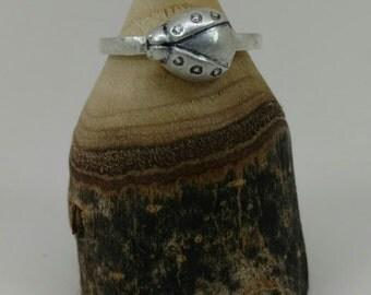 Fine Silver Ladybug Ring