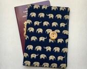Passport cover case cute mini elephant cream on navy fabric wooden button elephant inner pockets