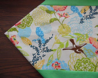 Spring Flowers with Hummingbirds and Blue Birds Table Runner - Table Topper -Table Linen