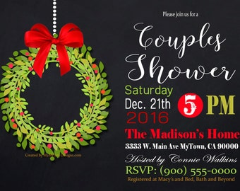 Christmas Couples Shower Gold Party invitation / Printable PDF / JPG /  Print at Home