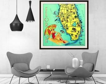 Florida Map, Florida Art Photograph, 20x20 print, mid century modern Art Retro Florida Old Florida Art Sunny Florida vintage travel art aqua