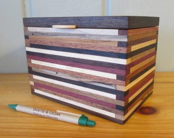 Recipe Box, Wood Box, 4 x 6 Index Card Box, Desk Organizer, Wood Box, Keepsake Box, Wood strip box, Jewelry Box, Little Wood Box