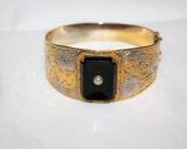 Vintage Bangle Bracelet, Wide Bangle Bracelet, Two Tone Embossed Bracelet, 1960s Jewelry