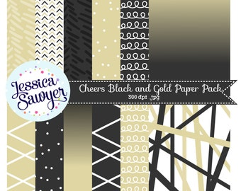 INSTANT DOWNLOAD, Black and Gold Digital Papers for commercial and personal use