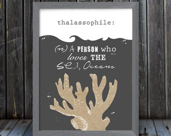 Thalassophile - Person who loves the sea, oceans - definition - Frame Not Included