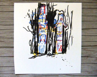 Night Drawing Series ' Totem Ghosts in Forest ' Original Color Abstract Drawing