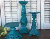 Deep Turquoise Blue / Teal Pillar Candle Holder - Table Top Decor - Candle Holder - Cottage Chic