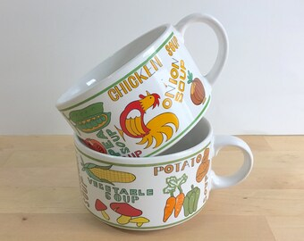 Vintage Soup Bowls - Set of Two - Chicken - Onion - Pea - Tomato - Celery - Potato - Vegetable - Mushroom