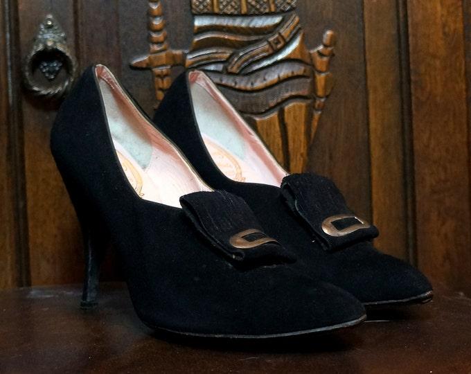 Black Suede Stilettos 5 B Narrow Designer Rao Koury HandMade Pilgrim Pumps 1950s  1960s High Heel Shoes Mr Herbert Couture Footwear New York