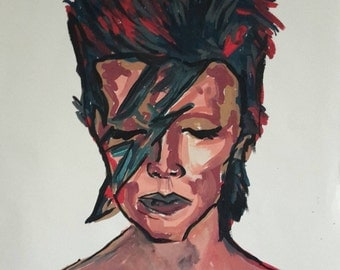 David Bowie Origanal Acrylic on Cartridge Paper A2