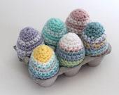 Crochet Easter Eggs, Set of 6 Pastel Striped Easter Decorations. Kid Friendly Easter Decor, Easter basket gift.